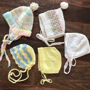 Lot of 5 Vintage Hand Knit Bonnets, Size 0-3; 0-6m